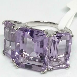 Amethyst 3 Stone Sterling Silver Ring Size 8.5